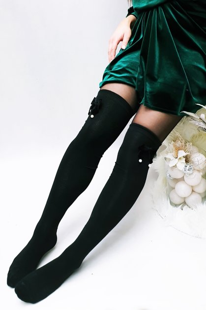 long socks with velvet ribbon 014